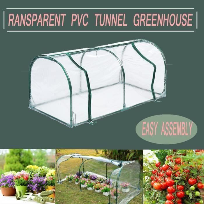 Serre Jardin Tunnel Culture Solaire Anti-pluie Couverture Transparent Cadre Acier 128x60x58cm Bo20051