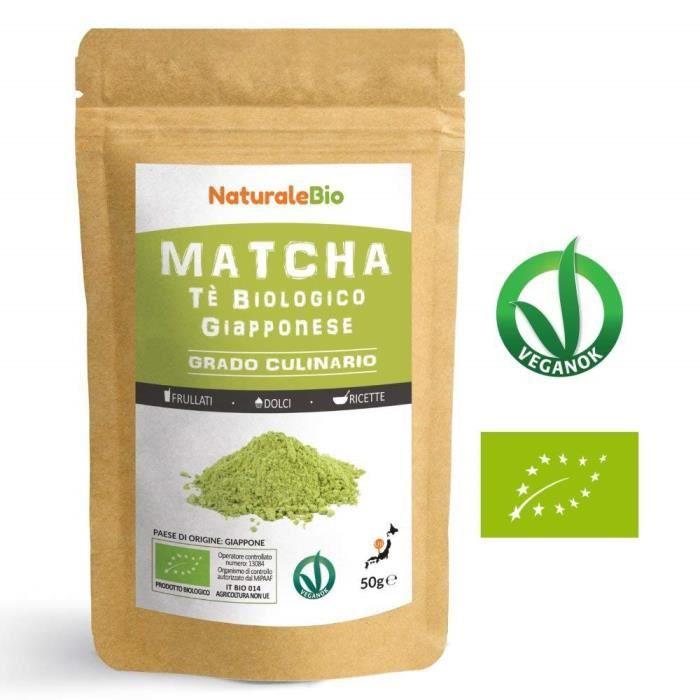 Thé Matcha Bio Japonais de Cuisine [ Qualité Culinaire ] 50 gr -Thé Vert Matcha en Poudre 100% Naturel -Matcha Green Tea
