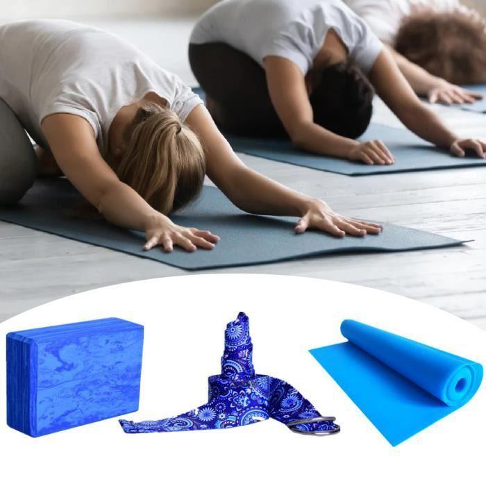 TAPIS DE SOL - TAPIS DE GYM - TAPIS DE YOGA Coussin de yoga 3 piècesensemble imprimé confortable style-Camouflage Blue1