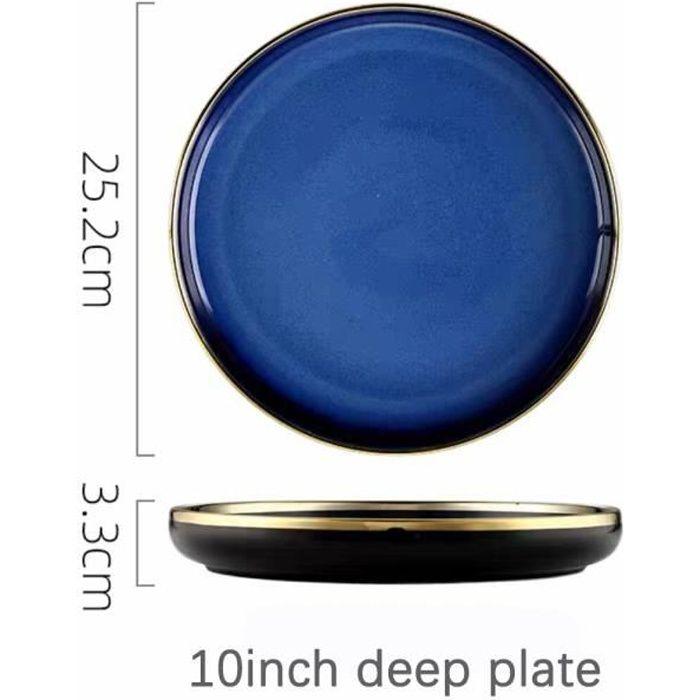 Assiette,Service de vaisselle en céramique bleue, vaisselle de luxe, bordure dorée, porcelaine - Type 10inch deep plate