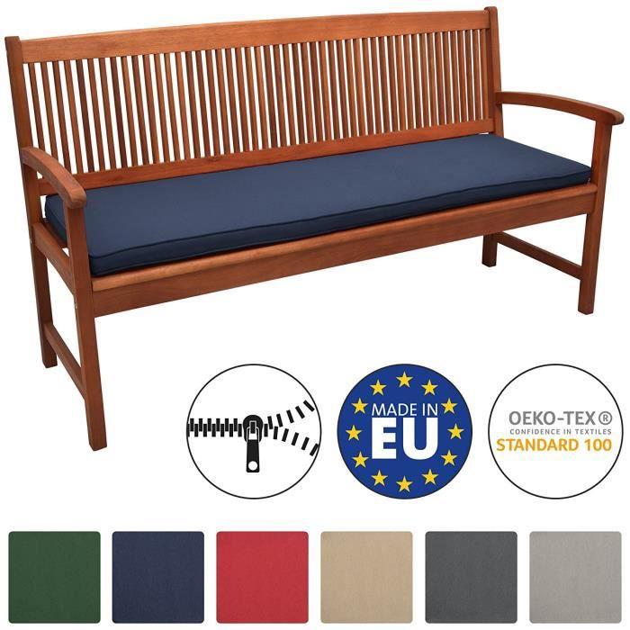 Beautissu Coussin Banc Banquette Loft BK 150x48x5 cm - Bleu foncé - Jardin Terrasse Balcon Extérieur - Haute qualité
