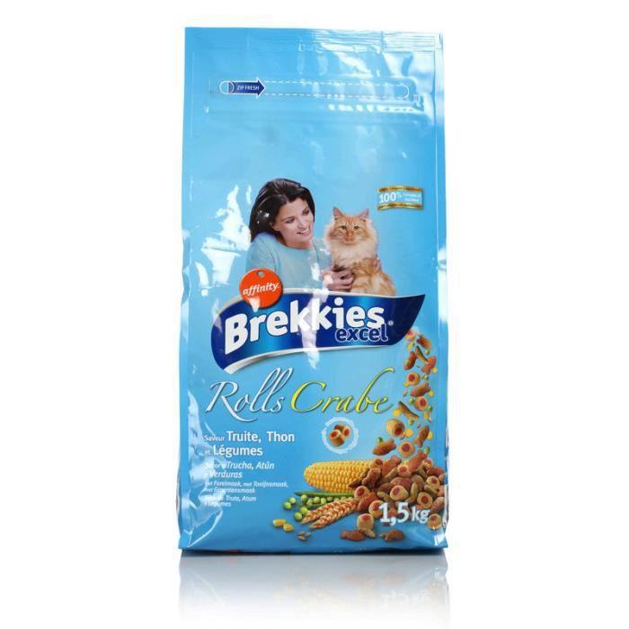 BREKKIES Croquettes aux poissons - Chat - 1,5 Kg