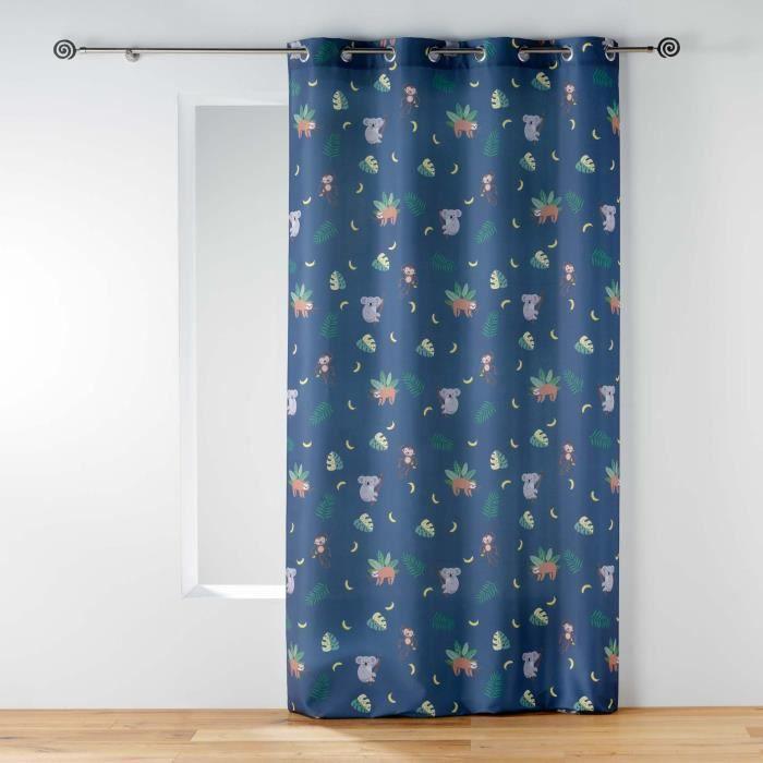CDAFFAIRES-Rideau enfant à oeillets 140 x 260 cm imprimé marley Bleu