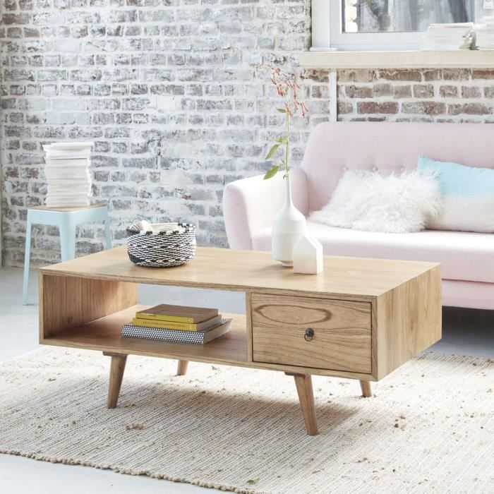 Table basse en bois de mindy avec tiroir BDBD