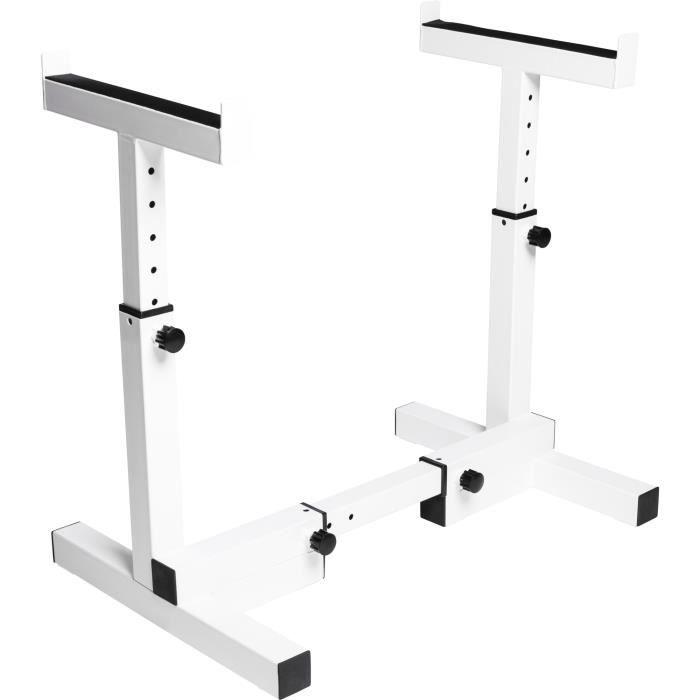 Gorilla Sports - Repose barre réglable en largeur et hauteur Blanc pour Barre Curl et Barbells