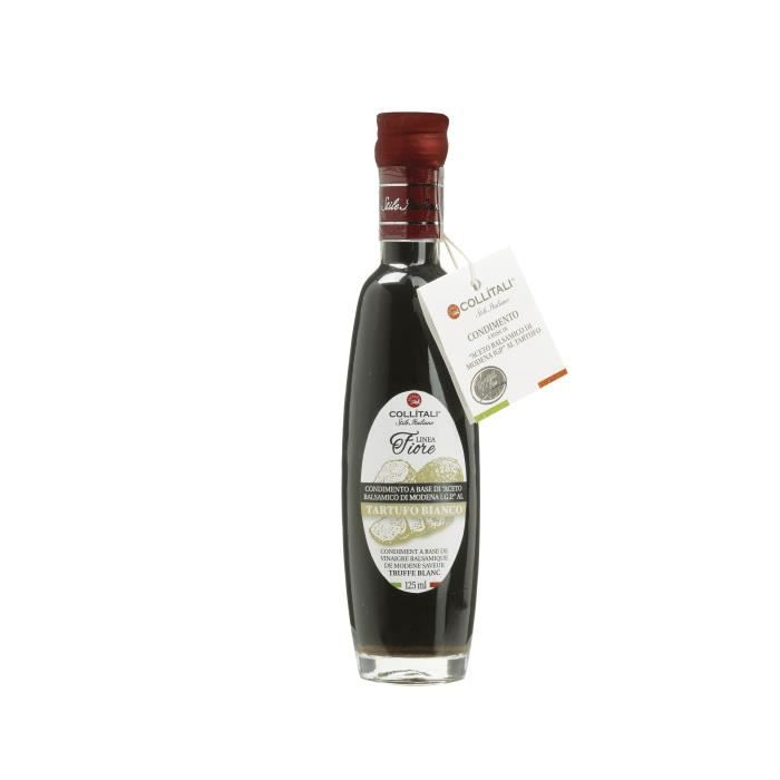COLLITALI Bouteille - poignée design- FIORE vinaigre balsamique aromatisation naturelle truffe - 125 ml