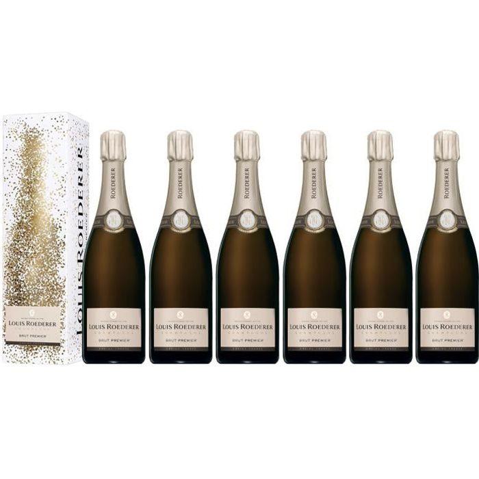 Lot 6 Champagnes Louis Roederer Brut Premier 75cl avec étuis