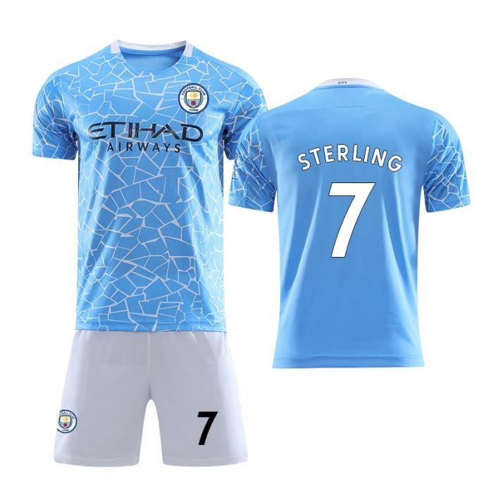Nouveau Maillot Manchester City 2020 2021 Maillot de Foot No.7 Raheem Sterling Pas Cher pour Homme Enfant Garçon