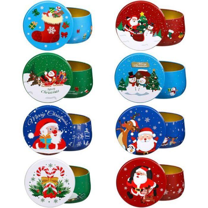 8 pcs durables bocaux de bonbons festifs de Noël pour stockage bonbons cremeux confiserie chocolat