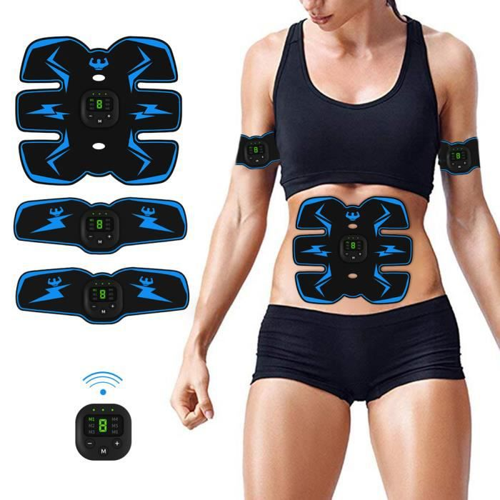 Electrostimulateur musculaire abdominal Electrostimulation Appareil Abdominal Bras ventre Jambes Entraînement Femme Homme Cadeau