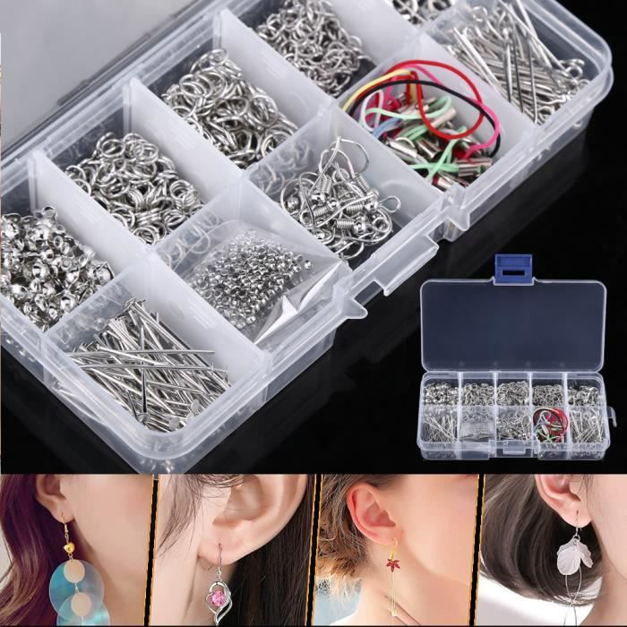 Kit Bijoux Création Fermoir Bracelet Accessoire de Réparation de Bijoux pour DIY Boucles d'oreilles Colliers Brac YESM13