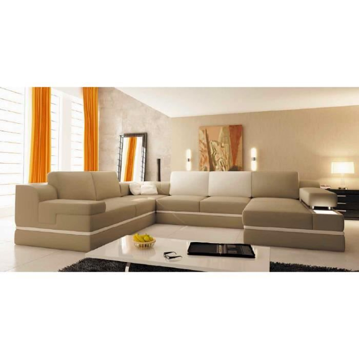 canap d 39 angle panoramique cuir beige et blanc achat vente canap sofa divan cuir bois. Black Bedroom Furniture Sets. Home Design Ideas