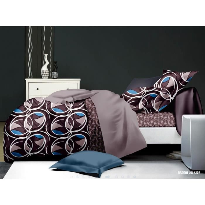 parure de lit 4 pieces 2 places microfibre rondes taille 2 achat vente parure de drap. Black Bedroom Furniture Sets. Home Design Ideas