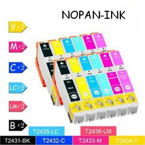 CARTOUCHE IMPRIMANTE 12  compatibles EPSON T2431-T2432-T2433-T2434 -T24