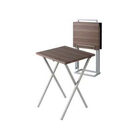 Set de 2 tables d 39 appoint pliantes marron achat vente for Table d appoint pliante en bois