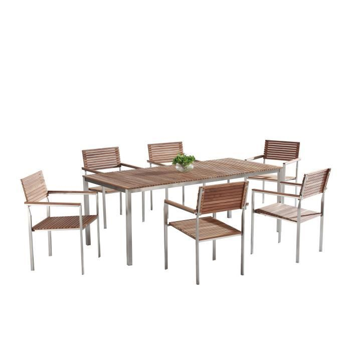 Table de jardin acier inox - plateau teck 200 cm et 6 ...