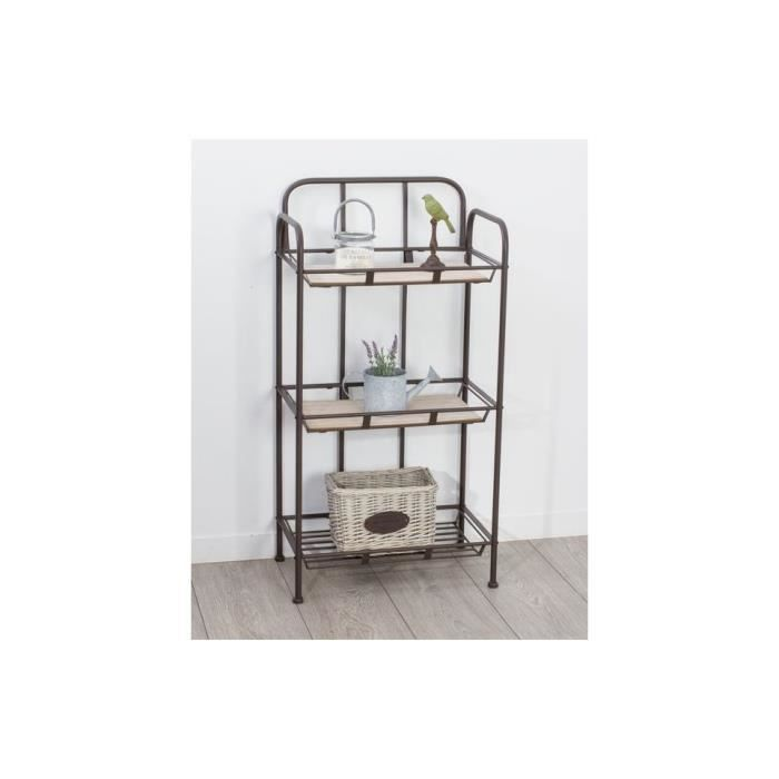 etagere industry 3 niveaux metal et bois achat vente. Black Bedroom Furniture Sets. Home Design Ideas