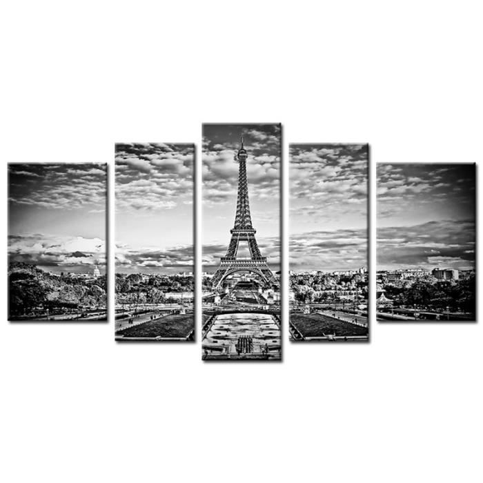 tableau contemporain paris eiffel 5p achat vente tableau toile cdiscount. Black Bedroom Furniture Sets. Home Design Ideas