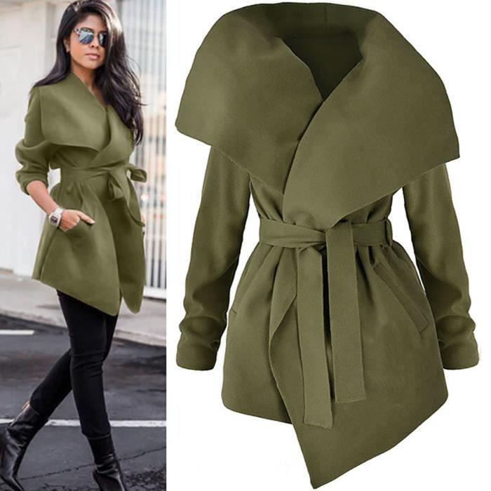Loose Dames Manches Manteau Ouvert Top Veste Femmes vert Outwear Avant Longues TJ3lK1cF
