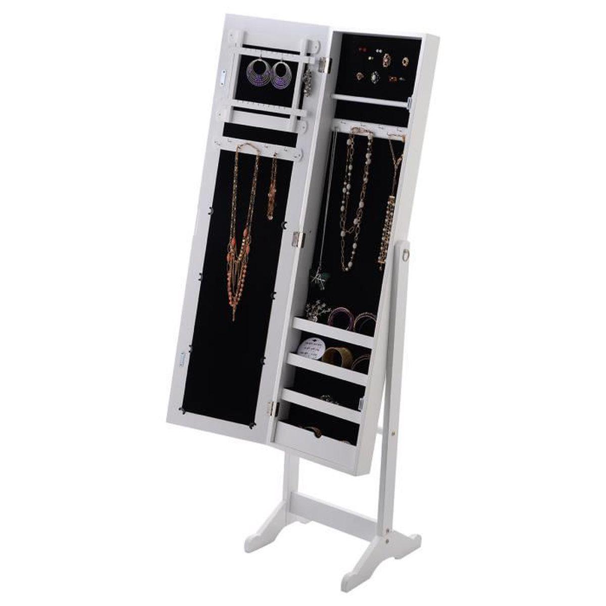 Armoire À Bijoux Rangement sur Pied Miroir Meuble Collier Bague Accesoire