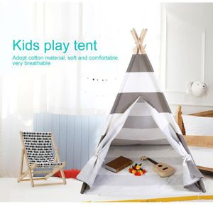 TENTE TUNNEL D'ACTIVITÉ Tente tipi maison pour enfants - gris blanc