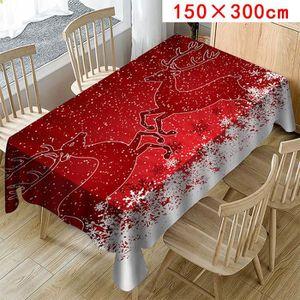 Rouge Père Noël Christmas PVC Vinyle Nappe De Noël Table de cuisine protecteur