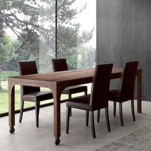 TABLE À MANGER SEULE Table à manger industrielle en bois et métal RUBEN