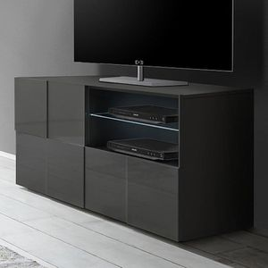 MEUBLE TV Petit meuble TV gris laqué brillant ARTIC 2 L 121