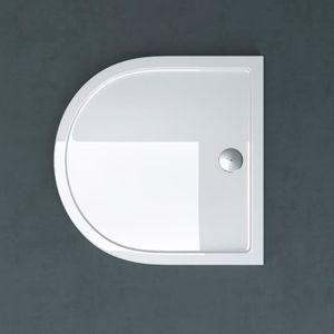 Forme Carre Bac a douche design blanc Faro1 75x75x4cm en acrylique avec sortie d evacuation et bouchon AL01 inclus