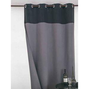 RIDEAU Rideau Occultant Bicolore Noir - Gris 140 x 260 cm