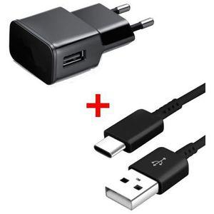 CHARGEUR TÉLÉPHONE Chargeur secteur-USB + Câble USB-Type- C Noir pour