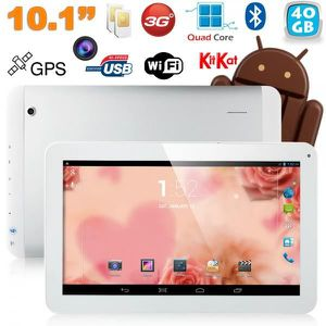 TABLETTE TACTILE Tablette 10 pouces 3G Quad Core GPS 40Go Blanc