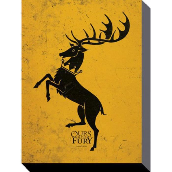 le tr ne de fer poster reproduction sur toile tendue sur ch ssis maison baratheon notre est. Black Bedroom Furniture Sets. Home Design Ideas