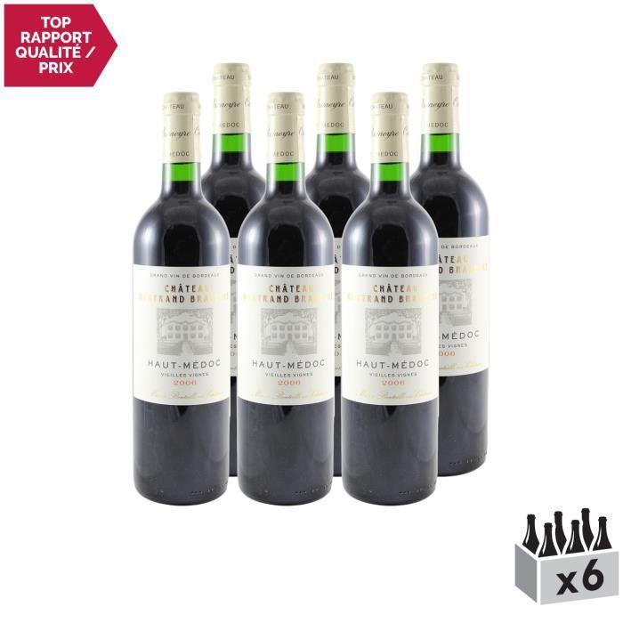 Château Bertrand Braneyre Rouge 2006 - Lot de 6x75cl - Appellation AOC Haut-Médoc - Vin Rouge de Bordeaux - Cépages Cabernet