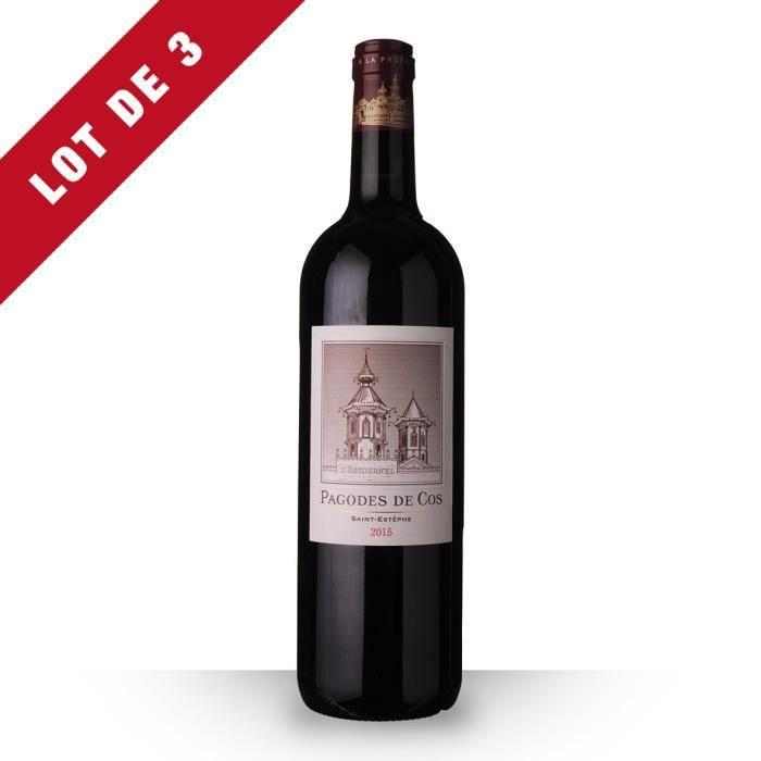3x Les Pagodes de Cos 2015 AOC Saint-Estèphe - 3x75cl - Vin Rouge