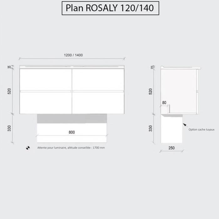 Caisson double vasque ROSALY 120 - Blanc brillant