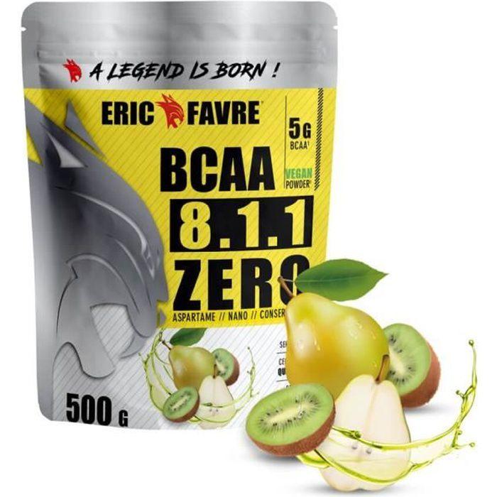 BCAA POUDRE 8.1.1 Zero - Acides Aminés Musculation Vegan 500 Gr - Laboratoire Français Eric Favre ((Kiwi - Poire)