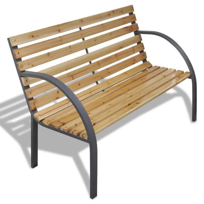 Banc de jardin chaise Banquette d'Extérieur Meuble de Jardin 112 cm Bois et fer