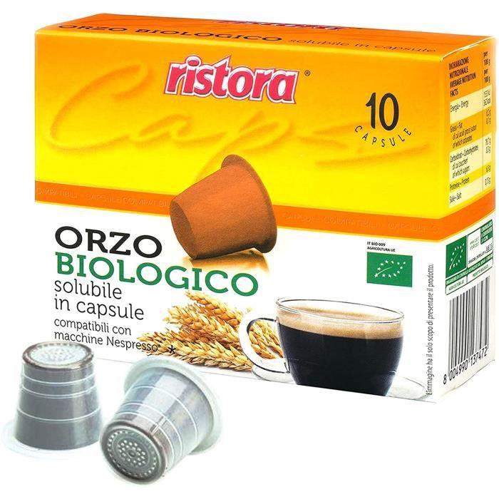 Lot de 50 capsules Ristora Orzo bio dosettes compatibles avec machines à café Nespresso
