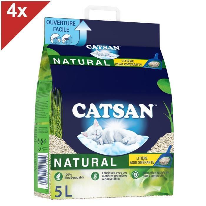 CATSAN Natural Litière naturelle végétale agglomérante pour chat 4 sacs de 5L