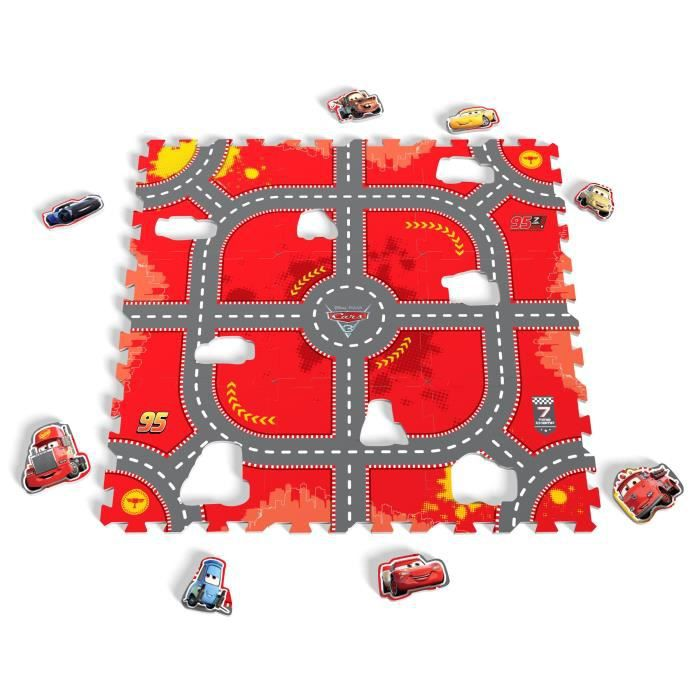 DISNEY CARS - TAPIS PUZZLE MOUSSE DE 9 PIECES - TATAMIZ