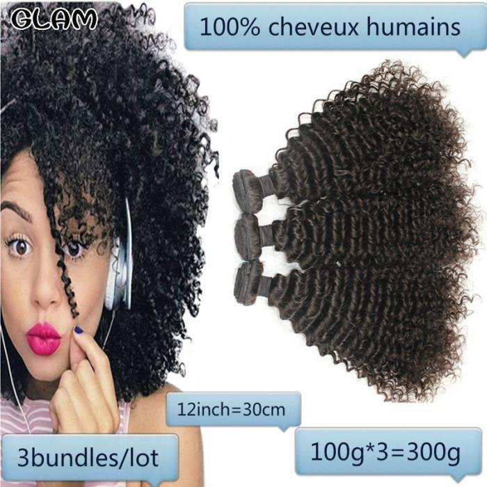 3pcs 12pouce Afro crépus bouclés cheveux brésiliens armure de cheveux 100g-tissage de cheveux humains Non Remy cheveux