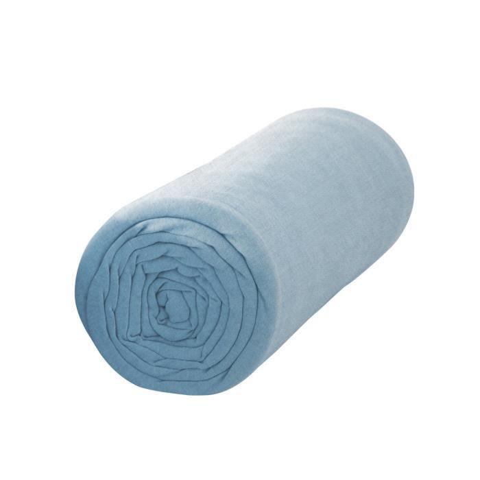 TODAY Drap housse 100% coton - 160 x 200 cm - Portofino bleu