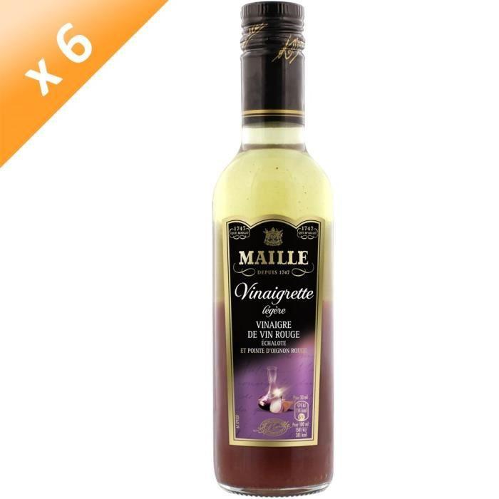 MAILLE Vinaigrette Légère Vin Rouge & Échalotes - Lot de 6x 360 ml