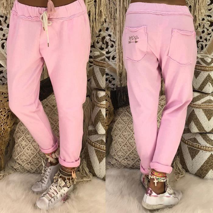 Pantalons Femmes style Casual longues Leggings sport desserrées Pantalons de yoga Pantalons longs de jogging XXXXXL Rose