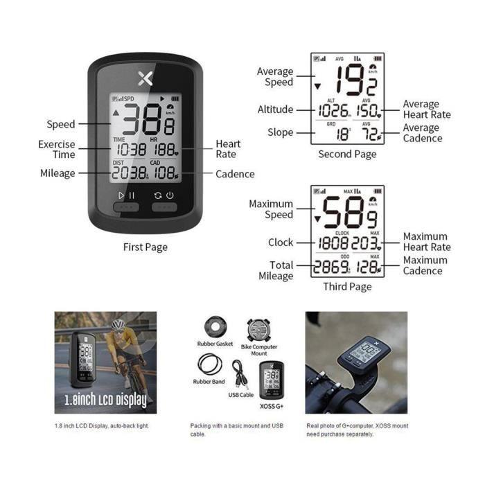 GPS de vélo Compteur kilométrique sans fil de cyclisme Anglais G +