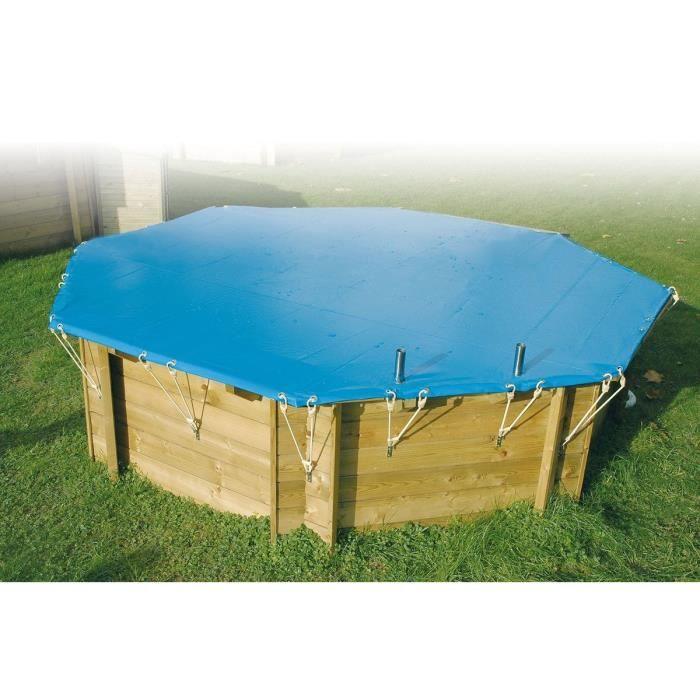 UBBINK Bâche d'hiver et de sécurité pour piscine en bois Ø360 cm - Bleu