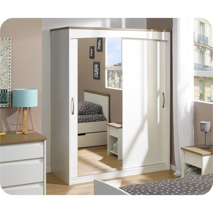 armoire island blanche avec porte miroir achat vente. Black Bedroom Furniture Sets. Home Design Ideas