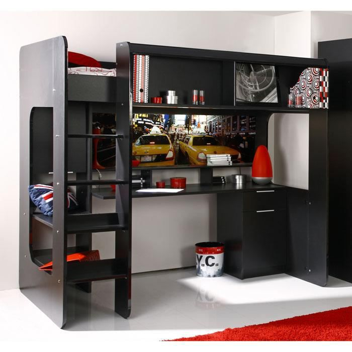 lit sur lev bureau kipcool noir brillant achat vente lit combine soldes d hiver d s. Black Bedroom Furniture Sets. Home Design Ideas