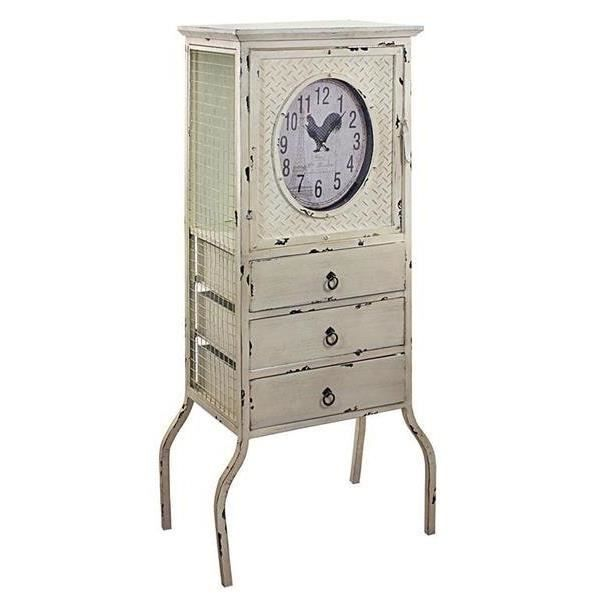 meuble etagere vintage avec horloge 130 cm achat vente commode de chambre meuble etagere. Black Bedroom Furniture Sets. Home Design Ideas